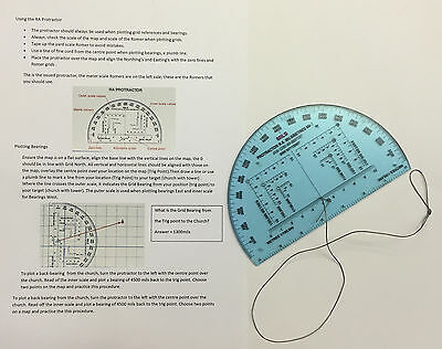 """NATO Approved Accurate 6"""" RA Map Reading Military Protractor and Instructions"""