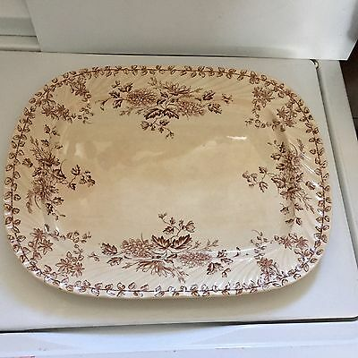 "Antique IronStone Platter Brown Floral Transfer 17.5""x 14"" English Mark"