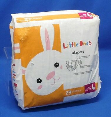 Little Ones Disposable Diapers Size 4 22-37 lbs 29 Ct Unisex Open Package A242