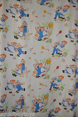 RAGGEDY ANN & ANDY vintage FLAT & FITTED BED SHEET 1980s