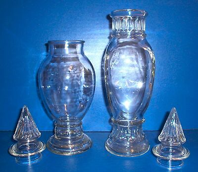 2 Vintage Glass Apothecary Jars Pointed Spire Tops Candy Bar Buffet
