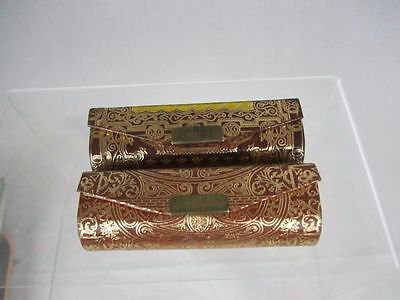 2 Vtg Purse Compact Lipstick Holder Tooled Leather Made in Italy Gold Gilted