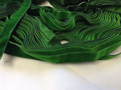 "10 Yards Green 5/8"" HANK FRENCH Vintage Silk Rayon Satin Back Velvet Ribbon"