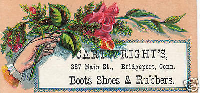 Advertising Business-Trade Card-Cartwright's-Boots-Shoes-Bridgeport-Connecticut