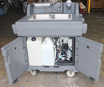 CAMBRO KSC402 MOBILE HAND WASH DUAL SINK CART STATION HEATER PUMP for RESTAURANT