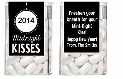 New Years Eve Midnight Kisses Mint Mints Party Favors Labels Personalized