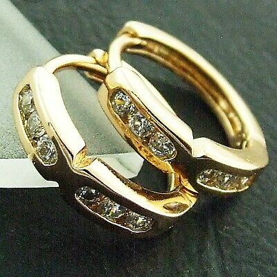 An877 Genuine Real 18K Yellow G/f Gold Diamond Simulated Cross Design Earrings