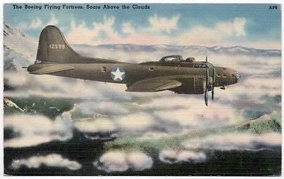 Linen Postcard The Boeing Flying Fortress B-17E Airplane~107586