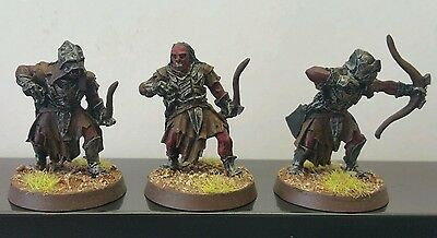 3 x Uruk-Hai Bowmen Scouts well painted metal models LOTR The Hobbit