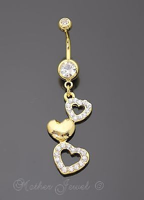 14K Yellow Gold Triple Plated Multi Heart Simulated Diamond Belly Navel Ring