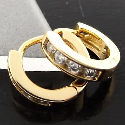 N939 Genuine Real 18K Yellow G/f Gold Diamond Simulated Baby Kids Girls Earrings