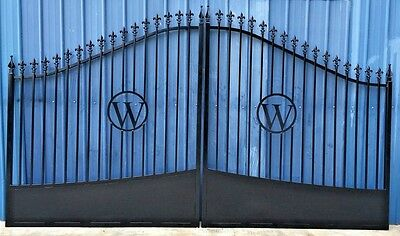 Custom Built Steel / Iron Driveway Entry Gate 14 Ft Wide Dual Swing, Residential