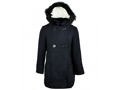 BNWOT: Girls Navy Duffel style, lined, faux fur hooded coat, ages: 3 - 12 years