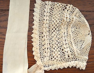 Antique Vintage Baby Child Hat Ivory Hand Crochet Cotton Silk Ties Lovely!