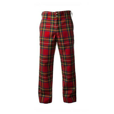 New Formal Golf Trousers Men's Cotton Tartan Trews Stewart Royal- Various Sizes