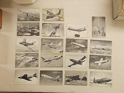 Lot Of 23 Vintage Arcade Exhibit Cards All Military Planes Or Aerospace