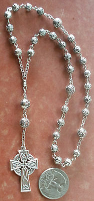 Handmade ANGLICAN Rosary + Celtic Cross 7/5mm Silvertone Antiqued Rosebud Beads