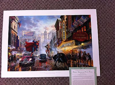 "Thomas Kinkade ""Batman, Superman & Wonder Woman"" Signed & Numbered  Lithograph"