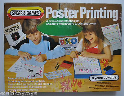vintage POSTER PRINTING STAMP TOY 1970s SPEAR'S GAMES