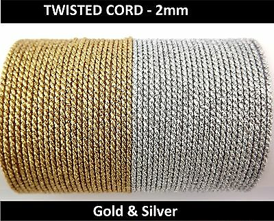 Twisted Braid Cord Soutache  – 2 mm wide Metallic Gold & Silver   (2F)