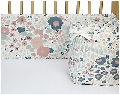 $159  Dwell Studio Posey Jade Canvas Bumper Pad - Multi Colors Blues & Pink- NEW
