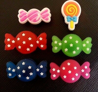6 x Sweets Candy Croc Shoe Charms Jibbitz Crocs Wristbands Charm Sweet Lolipops