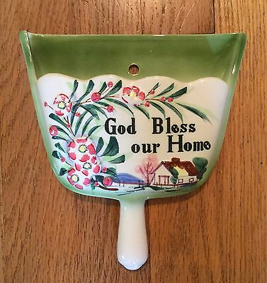 "Vintage Lifton's Japan Dust Pan Shaped ""God Bless our Home"" Ceramic Wall Pocket"