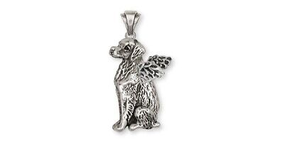 Brittany Angel Dog Pendant Handmade Sterling Silver Dog Jewelry BR2-AP