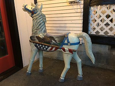 Antique Vintage Wood Carved Horse Standing Large Painted Rustic Pony Stallion