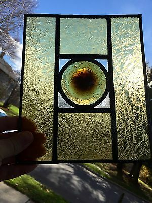 Rare Antique Stain Glass Panel  Round Bullseye Center Look!