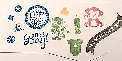 Clear Acrylic Cling Rubber Stamp Set NEW Baby Boy Nursery Scrapbook Card making