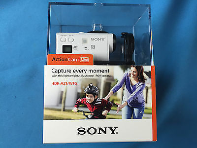 New Sealed Sony HDR-AZ1 HD Mini Action Video Cam POV White ✔Waterproof Case