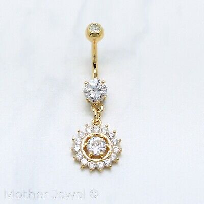 14K Yellow Gold Triple Plated Simulated Diamond Dangle Belly Button Navel Ring