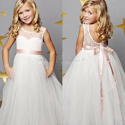 New Flower Girl Dress Princess Vintage Special Occasion Party Wedding Lace Dress