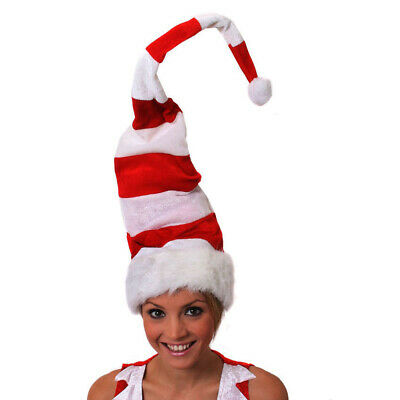 Red And White Striped Santa Hat Tall Christmas Mens Womens Xmas Fancy Dress