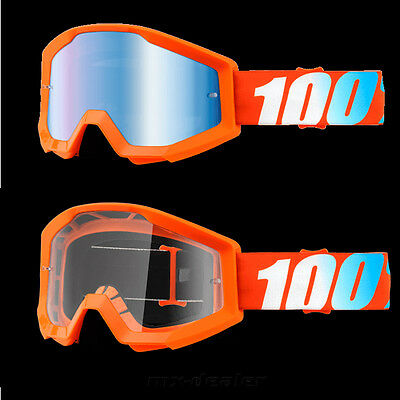 C ross Brille 100/% Strata  verspiegelt  MX Enduro Downhill Mandarin Mountainbike