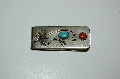Turquoise? Coral? Silverplate Brass Money Clip Vintage Polish Stone BOHO Western