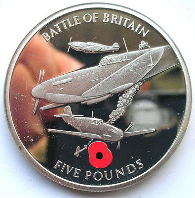 Gibraltar 2004 Battle of Britain 5 Pounds Silver Coin,Proof