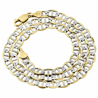 Real 10K Yellow Gold Diamond Cut Solid Mariner Chain 5mm Necklace 16-30 Inch