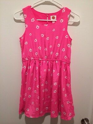 NWT TOTAL GIRL Girls Dress Fun Pink White Flowers Lined 10 1/2 12 1/2 Plus NEW