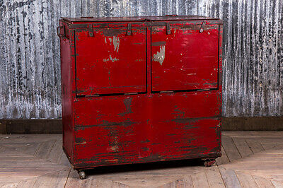 Industrial Metal Locker Vintage Red Storage Unit