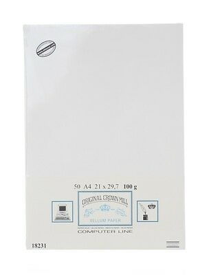 Crown Mill A4 50xPaper White Vellum-Smooth
