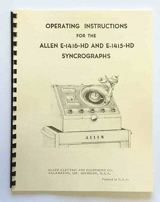 Allen Model E1416HD & E1415HD Syncrograph Manual ( Distributor Tuning Machine )