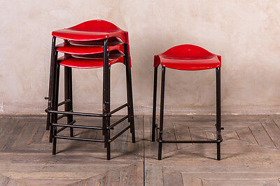 Vintage Lab Stools Industrial Red Stacking Bar Stools