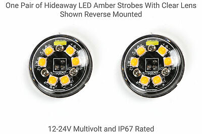 1 Pair of Hidden 6 LED Amber Strobes with Clear Lens - Hidden or Surface Mount