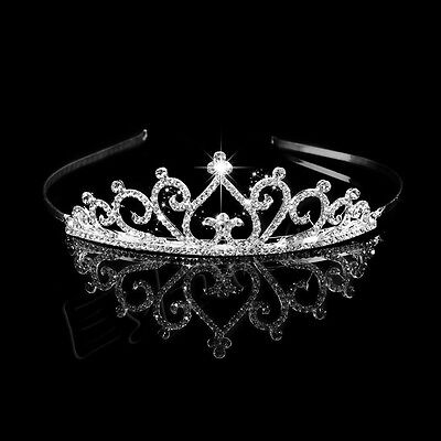 Rhinestone Bridal Princess Crystal Tiara Prom Wedding Hair Crown Veil Headband