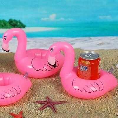 Flamingo Inflatable Water Floating Cell Phone Drink Can Swimming Bath Pool Toy