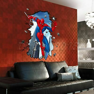 Super Hero 3D Spider Man Cracked Mural Wall Sticker Art Decals Kids Room Decor