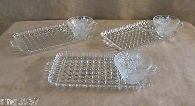 Vintage Glass sandwich luncheon plate cup Lot 10 server party tea lunch Indiana