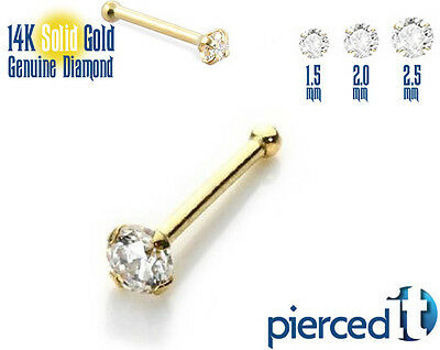 GENUINE REAL DIAMOND 14k SOLID GOLD NOSE PIECING RING BONE STUD 22g *Any Size*
